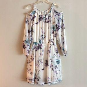 NWT WHBM Cutout Cold Shoulder Sheer Floral Dress